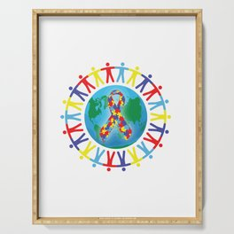 Autism awareness day Shirt - support autistic kids Serving Tray