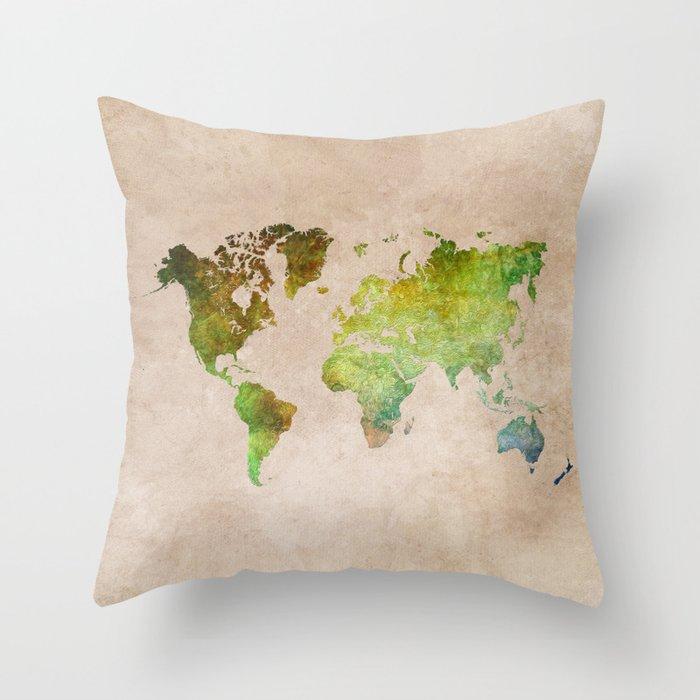 Green World Throw Pillow