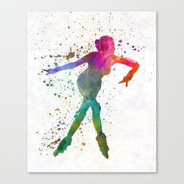 Woman in roller skates 08 in watercolor Canvas Print