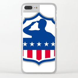 American Soldier Saluting USA Flag Crest Icon Clear iPhone Case