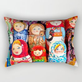 Culture. Group of matrioska, or babushka, symbol of maternity from Russia. Rectangular Pillow