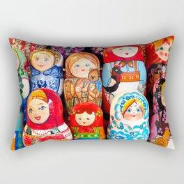 Culture. Group of matrioska, or babushka, symbol of maternity from Russia. Rectangular Pillow