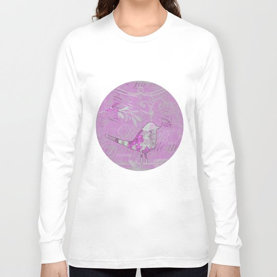 pink bird typography collage Long Sleeve T-shirt