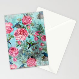 Vintage Watercolor hummingbird and English Roses Stationery Cards