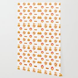 Pizza Pies, Cheeseburgers, Hot Dogs, and Donuts Pattern Wallpaper