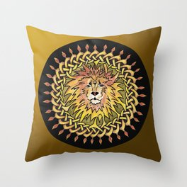 Lion Celtic Knot Mandala Throw Pillow