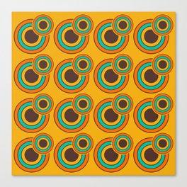 1970's Retro Circles Design Orange Brown & Blue Canvas Print