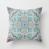 bedding Throw Pillows featuring Gypsy Floral in Red & Blue by micklyn