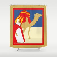 casablanca Shower Curtains featuring Vintage style 1920s Casablanca travel advertising by aapshop