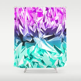 Modern Trendy Purple and Teal Fractal Geo Shower Curtain