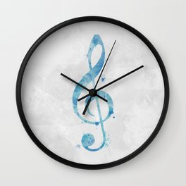 Blue Watercolor Treble Clef Wall Clock