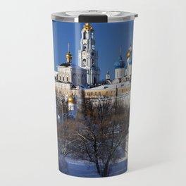 Sergiev Posad monastery (lavra) at sunny winter day Travel Mug