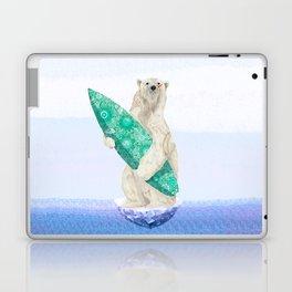 Polar bear & Surf (green) Laptop & iPad Skin