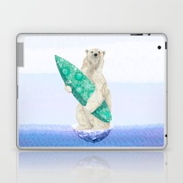 Polar bear & Surf (green) Laptop & iPad Skin