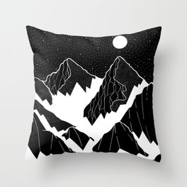 The snow bottom mountains Throw Pillow