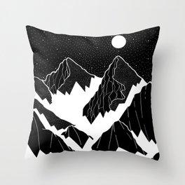 The snow bottom mountains Throw Pillow