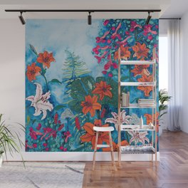 Blue Jungle of Orange Lily and Pink Trumpet Vine Floral Wall Mural