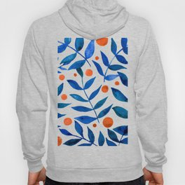 Watercolor berries and branches - blue and orange Hoody