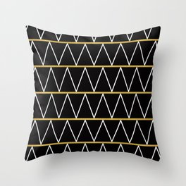 Black and gold zigzag Throw Pillow