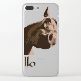 funny horse hello Clear iPhone Case