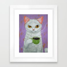 WHITE CAT AND BLACK COFFEE Framed Art Print
