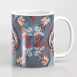 Floral Ogees in Red & Blue on Grey Coffee Mug