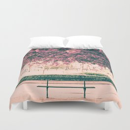 Paris, cherry blossom garden Duvet Cover