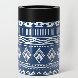 Geo Pattern Indigo Can Cooler