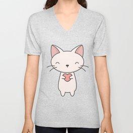 Kawaii Cute Cat With Heart Unisex V-Neck