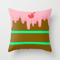 cake Throw Pillows featuring Cake by Rejdzy