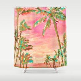 Beach at Mauna Lani Bay, Hawaii Peach Shower Curtain