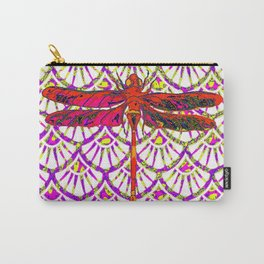 Decorative Red Color Art Deco Dragonfly Carry-All Pouch