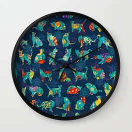 Colorful Christmas cats Wall Clock