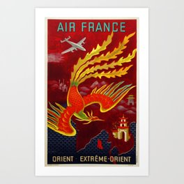 Vintage 1947 Air France for the Orient Extreme-Orient Advertisement Poster by Lucien Bouch Art Print