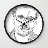 john green Wall Clocks featuring John Green by S. L. Fina