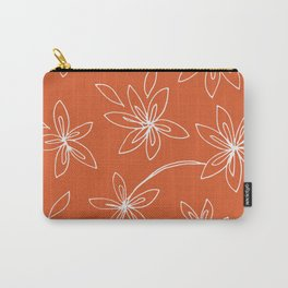 Flower Drawing on Orange Carry-All Pouch