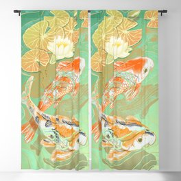 Carp Koi Water Lily Pond Blackout Curtain