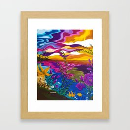 Floral Beach, Bright Floral Beach, Abstract Floral Ocean Framed Art Print