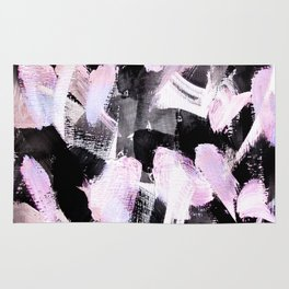 light pink and black abstract painting Rug