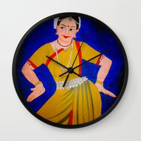 dancer Wall Clocks featuring Dancer by Priyanka Rastogi