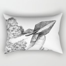 Origami Rocket Flies Through the Air Leaving a Trail of Smoke Rectangular Pillow
