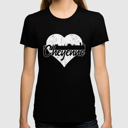 Retro Cheyenne Wyoming Skyline Heart Distressed T-shirt