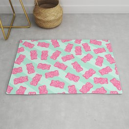 Pink Gummi Bears on Mint Background Pattern Rug