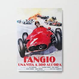 Fangio, Race poster, Vintage poster, F1 poster Metal Print