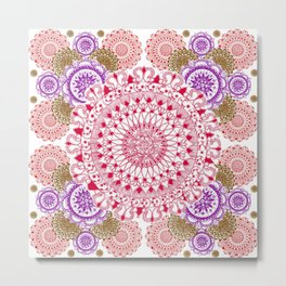 Red, Brown, and Purple Mandala Pattern Metal Print
