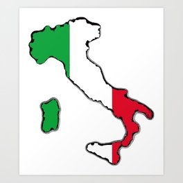 Italy Map with Italian Flag Art Print