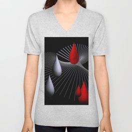 red and white on black -27- Unisex V-Neck