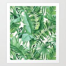 Green tropical leaves III Art Print
