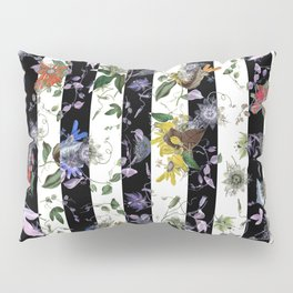 Vibrant Exotic Floral on Black and White Stripes Pillow Sham