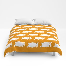 Counting Sheep. White on Orange. Comforters